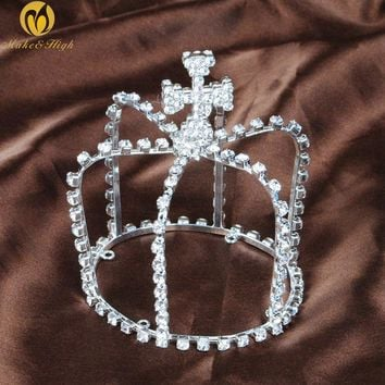3a63f3114f4dcc Mini Crown Cross Style Handmade Crystal Small Tiara Bridal Wedding Pageant  Birthday Party Hair Accessories