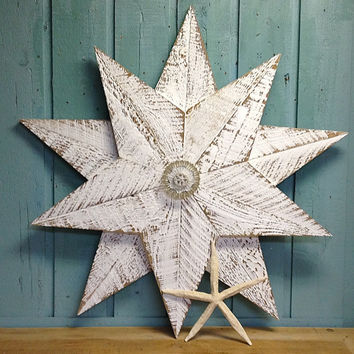 White Wooden Star Beach House Wall Art Inside Outside by CastawaysHall - Ready to Ship