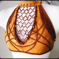 Reversible Leather Beaded Geometric Halter Top, Sexy Sexy Butter Skin