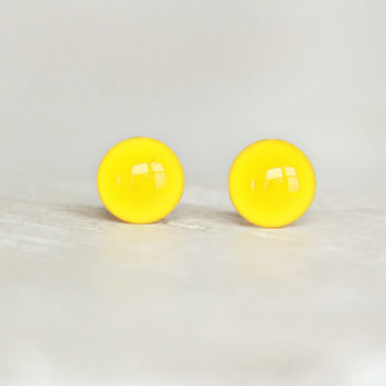 LEMON - Yellow Earrings Studs - Bright Yellow Stud Earrings - Half Round Posts - Yellow Earrings by EarSugar