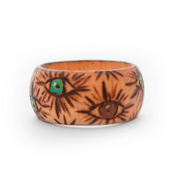 Evil eye wooden ring