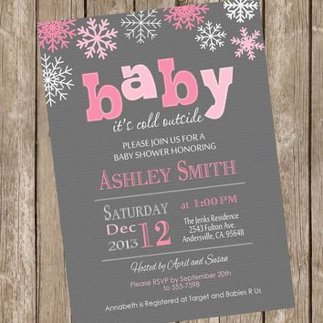 Baby it's cold outside baby shower invitation, winter baby shower, snowflake, gray and pink, girl winter, printable invitation sf2