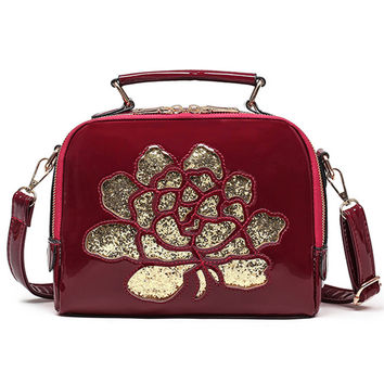 Classic Hollow Out Floral Patent Leather Flap Bag