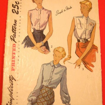 1940s Blouse Pattern Simplicity 3092 Sz14 Bust 32 Sleeveless & Cuffed Bishop Sleeves