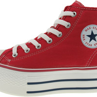 Maxstar Women's C50 7 Holes Zipper Platform Canvas High Top Sneakers Red
