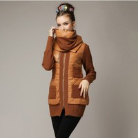 Women : Down Coat with Crocheted Sleeves YRB0405