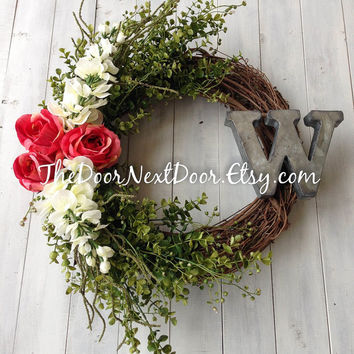 Rose Wreath - Metal Monogram Wreath - Front Door Wreath - Summer Wreath - Eucalyptus Wreath
