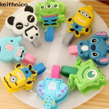 KEITHNICO 4Pcs Cartoon Cable Winder Earphone USB Charging Data Line Wire Cord Tie Organizer Wrap Holder For Phone Mp3 Mp4