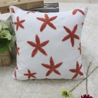 "Cotton Decorative Pillow Case Pillow Cover Case 18"" x 18"" Square Shape Starfishes Printed Surface DP 0506"