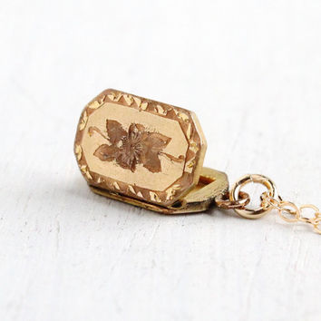 Vintage Gold Filled Small Rectangular Flower Locket Necklace- 1940s Sweetheart Floral Jewelry Monogrammed MH