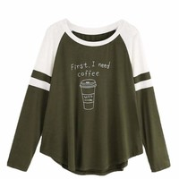 "Women's Long Sleeve Olive ""First, I Need Coffee"" Graphic Printed T Shirt Top"