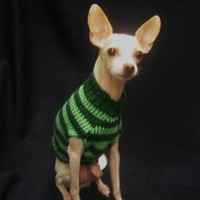 Green Stripe Dog Sweater - Puppy Clothes - Animal Outfit - Mint Pet Chihuahua Top