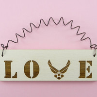 LITTLE SIGN LOVE With Air Force Wings Logo - Cute Wooden Laser Engraved usaf Air Force Military Spouse Wife Girlfriend