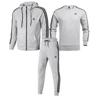 ADIDAS 2018 winter new cotton slim men's sportswear three-piece suit Grey