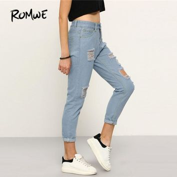 ROMWE High Waist Ripped Denim Pants 2018 Spring Blue Button Fly Skinny Casual Woman Pants New Ripped Rock Girls Jeans