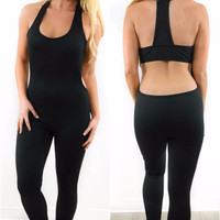 Tough Girl Black T-Strap Active BodySuit