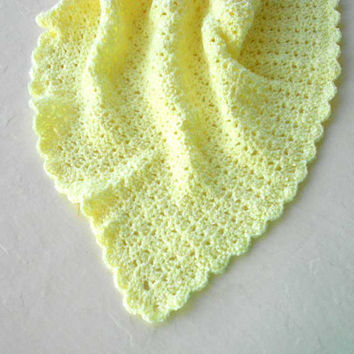 Baby Yellow Crochet Blanket - baby, newborn, baby shower gift, afghan, lap blanket, mothers day