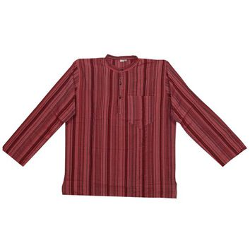 Bohemian Gypsy Chic Men's Cotton Shirt Short Kurta Long Sleeves Red Pink Trendy Tunic Traditional Wear XL