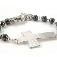Sideways Cross Bracelet Hematite Gemstones Beaded Jewelry