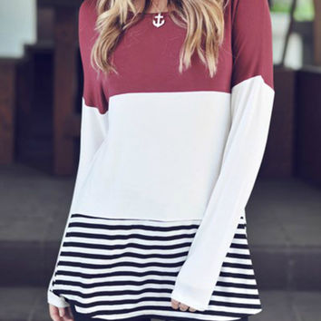 Colorblock top with crochet back stripe - Burgundy