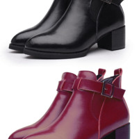 Womens Trendy Strap Heel Ankle Boots