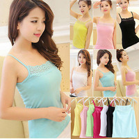 Women Sleeveless Camisole Basic Stretch Spaghetti Cotton Lace Tank Tops Cami New