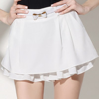 White Ruffled Mini Skirt Shorts