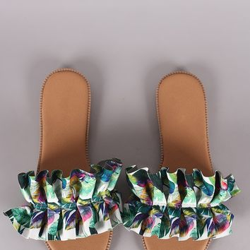 Qupid Pleated Ruffle Printed Slide Sandal