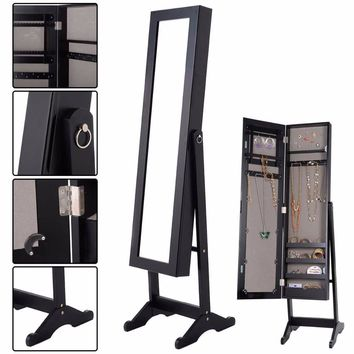 Jewelry Armoire Mirrored Wood Cabinet