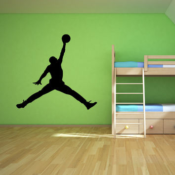 Basketball silhouette player dunking silhouette sports wall decal