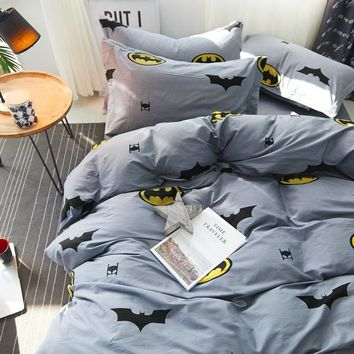 brief fresh style Fish bedding set 100% cotton bed linen bedsheet 4pcs/set duvet cover set batman bedclothes for boy/girl