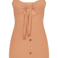 Camel Ribbed Tie Front Button Down Bodycon Dress