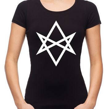 White Unicursal Hexagram Six Pointed Star Women's Babydoll Shirt Occult Clothing