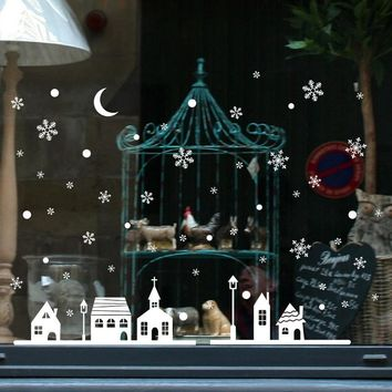 Christmas Shop Window Decoration Wall Stickers Christmas Snowflakes Town 2018 New Christmas Decorations For Home wall stickers