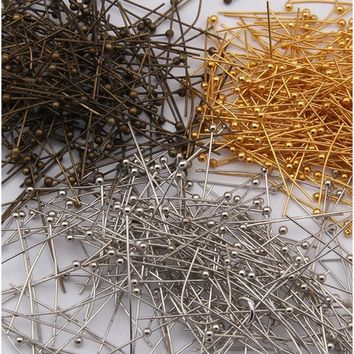 200pcs Rose Gold/Bronze/Metallic Silver/Gold /Silver Plated Metal Ball Head Pins For Diy Jewelry Making Findings Length 20/25/30
