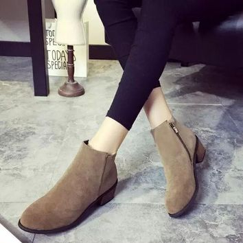CUPUPGM Winter With Heel Vintage Suede Zippers Shoes Boots [9432935818]
