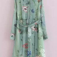Green Removable Collar Long Sleeve Printed Dress