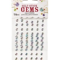 78 Piece 5mm Clear Gemstones Package : Aurora Borealis Colored Adhesive Rhinestones
