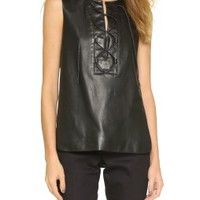 Lace Up Leather Panel Top