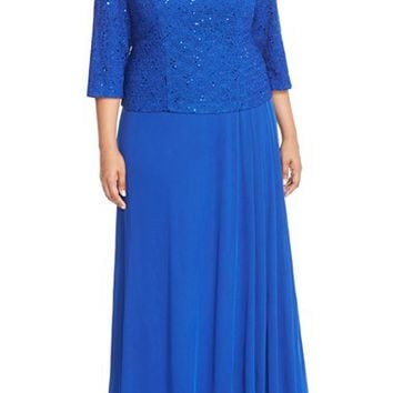 Plus Size Women's Alex Evenings Mock Two-Piece Lace & Chiffon A-Line Gown,
