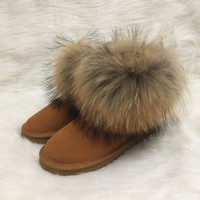 DCCK8X2 UGG Fashion Plush leather boots boots in tube Boots Beige