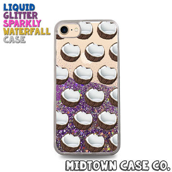 Coconut Pattern Coconuts Shells Milk Fun Cute Liquid Glitter Waterfall Quicksand Sparkles Glitter Bomb Bling Case for iPhone 7 7 Plus 6s 6
