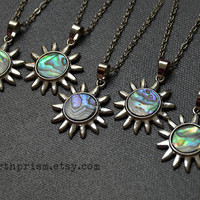 Abalone Sun Shaped Pendant Silver Chain Necklace Leather Cord / Sun Necklace / Paua Shell / Abalone Shell / Haliotis Iris
