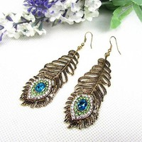 ONETOW Vintage Women Rhinestone Peacock Eye Feather Dangle Hook Earrings Jewelry