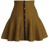 Buttons Up Knitted Skater Skirt in Yellow Yellow S/M
