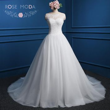 Rose Moda French Lace Ball Gown Bateau Neck Plus Size Wedding Dress V Back Real Photos
