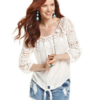 American Rag Crochet-Panel Top, Only at Macy's