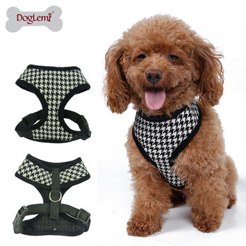 Adjustable Soft Nylon Mesh Small Dog Harness Vest Plaid Breathable Pet Cat Belt Collar & Leash Walking Safety Strap Clothes