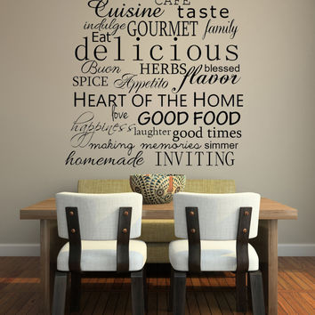 Kitchen Words Decorative Subway Art Style Vinyl Wall Decal Sticker Art