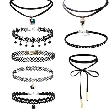 Prohouse(TM) 8Pieces Womens Black Velvet Choker Necklace for Women Girls Lace Choker Gothic Tattoo Necklaces